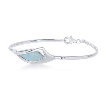 - Caribbean Treasures Sterling Silver Larimar Gemstone Bangle Bracelet
