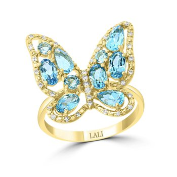 - 14k Yellow Gold Diamond and Swiss Blue Topaz Gemstone Butterfly Cocktail Ring