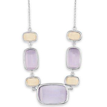 "- Simona Sterling Silver Alternating Champagne and Light Violet Rectangle Cat's Eye Neckalce - 16"""