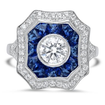 - Vintage Style White & Blue Sapphire Sides Gemstones and Round Diamond Center Cocktail Ring