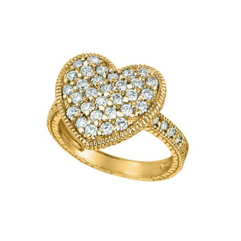 14K Gold 1.00ctw. Diamond Cluster Heart Accented Cocktail Anniversary Ring