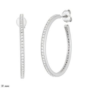 Sterling Silver 2mm Wide Single Row CZ J Hoop Earrings