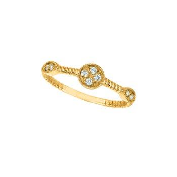 14K Gold 0.15ctw. Diamond Round & Marquise Shape Geometric Anniversary Wedding Band Ring