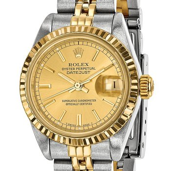 : Pre-Owned Independently Certified Rolex Ladies Datejust Two-Tone Steel/18ky with Champagne Dial, and Jubilee Band