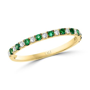 - 14k Yellow Gold Diamond and Color Gemstone Stackable Anniversary Band Ring