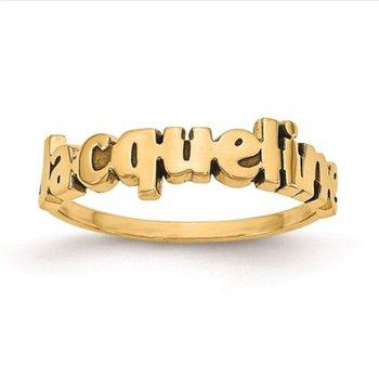 14k Gold Laser Design Polished Personalized Name Band Ring