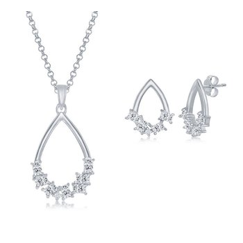 Sterling Silver Multi-Shaped CZ Open Pear-Shaped Pendant Chain Necklace & Earrings Set