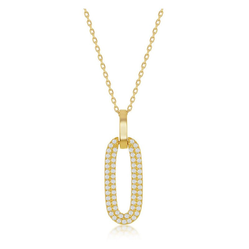 Fashion Jewelry Collection Sterling Silver Micro Pave CZ Stones Door Knocker Style Oval Link Pendant