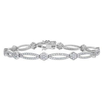 """Bellissima Sterling Silver Flower Floral Design 2.85cttw White Topaz Gemstones Bridal Tennis Bracelet - 7"""""""