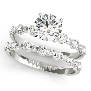 Round Diamond Accented Engagement Ring and Wedding Band Set