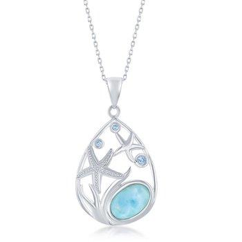 - Caribbean Treasures Sterling Silver Blue CZ and Larimar Gemstone Starfish Pendant