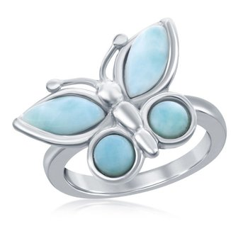 - Caribbean Treasures Sterling Silver Larimar Gemstones Butterfly Ring