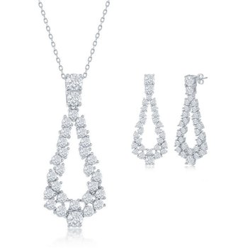 Sterling Silver CZ Pear-Shaped Pendant Chain Necklace and Earrings Set