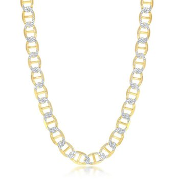 - Sterling Silver 14k Yellow Gold Plated 8mm Flat Pave Marina Mariner Chain Bracelet/Necklace for Men