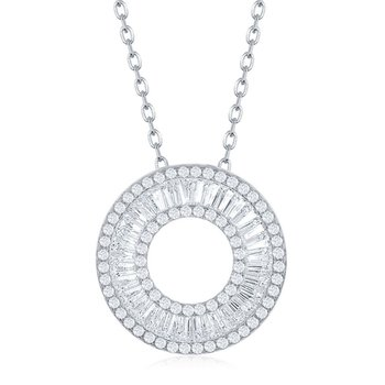 Sterling Silver Baguette and Round CZ Open Circle Chain Necklace