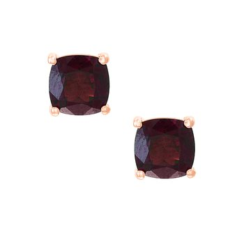 - 14k Rose Gold 2.16Ctw. Cushion Garnet Gemstones Stud Earrings