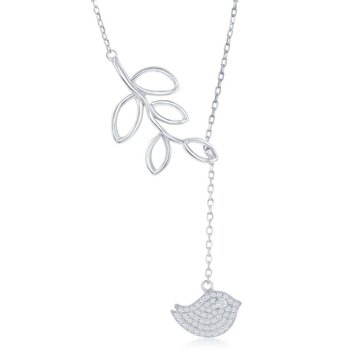 Sterling Silver Open Leaf with Micro Pave CZ Hanging Bird Lariat 'Y' Chain Necklace