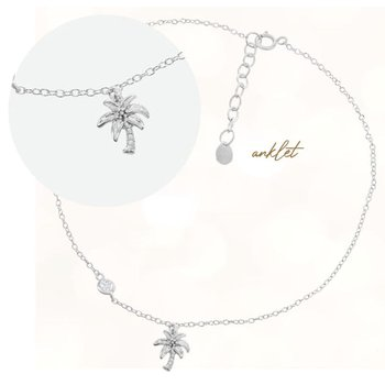 Sterling Silver Palm Tree with Single CZ Adjustable Chain Anklet