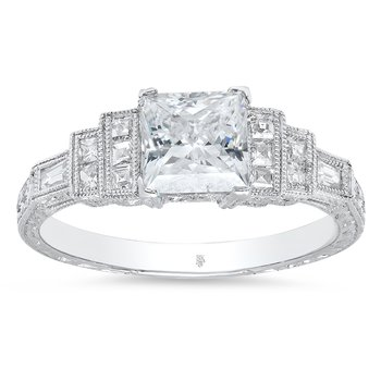 - Stepped Shoulders Semi-Mount Princess Square Diamond Engagement Ring