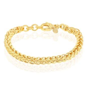 "- Bella Moda Sterling Silver w/14K Yellow Gold Overlay Palmier Link Bracelet - 7.50"""