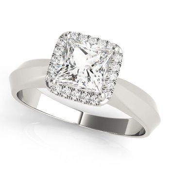 - Princess Halo Diamond Engagement Ring