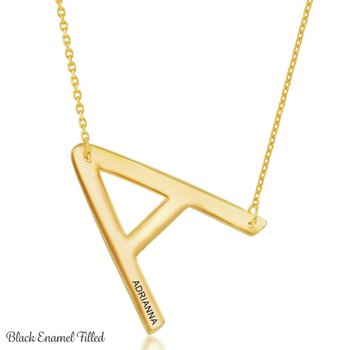 """Sterling Silver 14k Yellow Gold Plated Sideways """"Engraved"""" Letter Initial Chain Necklace"""
