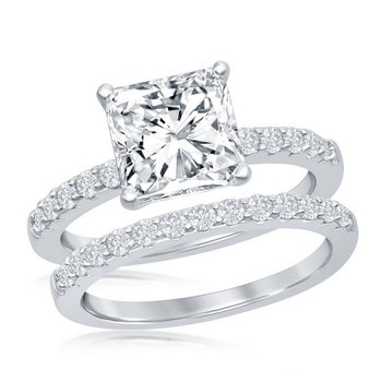 - Sterling Silver Set with Princess and Accented Round CZ Stones Wedding and Engagment Ring Set