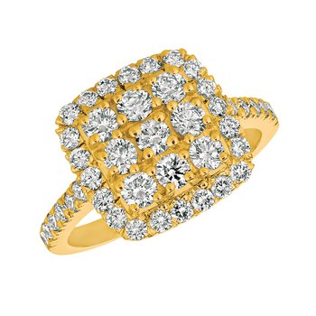 14k Gold Diamond Halo Accented Square Cocktail Anniversary Ring