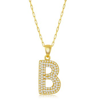 """Sterling Silver Micro Pave Set CZ Stones Block Letter Initial Pendant with 16"""" Paper Clip Style Link Chain Necklace"""