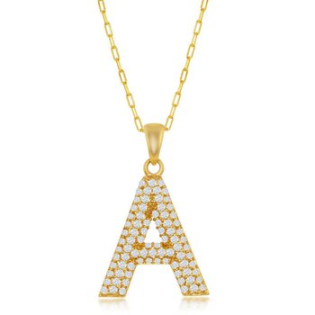 "Sterling Silver Micro Pave Set CZ Stones Block Letter Initial with 16"" Paper Clip Style Link Chain Necklace"