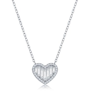 Sterling Silver Round and Baguette CZ Heart Chain Necklace