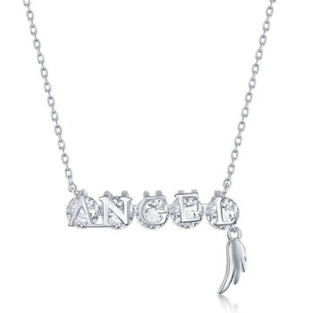 Sterling Silver 'ANGEL' Rotating CZ Wing Charm Chain Necklace