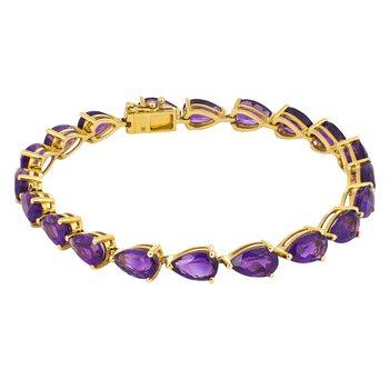 - 14k Yellow Gold 17.31Ctw. Amethyst Gemstone Tennis Bracelet