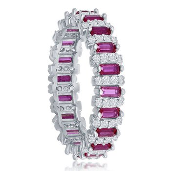 Sterling Silver White CZ Round and Pink CZ Emerald-Cut Eternity Band Ring