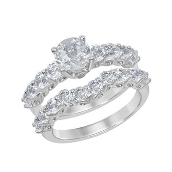 Bellissima Sterling Silver 3.95ctw. White Topaz Round Gemstone Accented Wedding Band and Engagement Ring Set