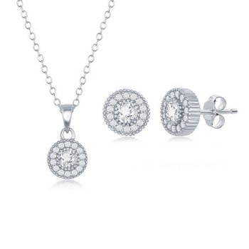 - Sterling Silver CZ Stones Halo Pendant Necklace and Earrings Set