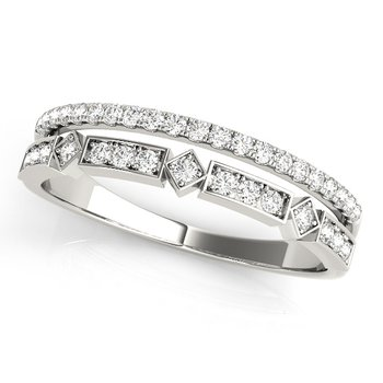 0.20ctw. Diamond Anniversary Wedding Negative Space Stackable Ring Band