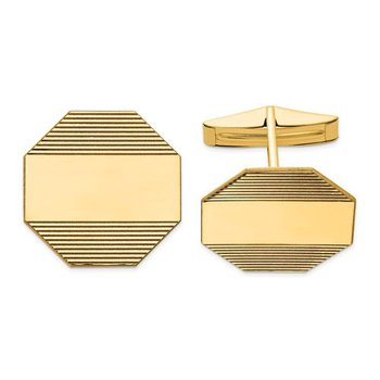 14k Yellow Solid Gold 20x20mm Octagonal Grooved Design Engravable Personalized Men's Cuff Links