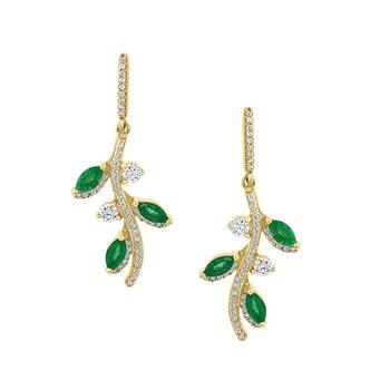 - 14k Yellow Gold Diamond and Emerald Gemstone Leaf Nature Inspired Design Dangle Drop Earrings