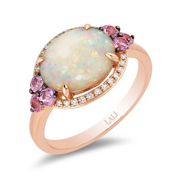 - 14k Rose Gold Halo Diamond and Australian Opal & Pink Sapphire Gemstones Fancy Cocktail Ring