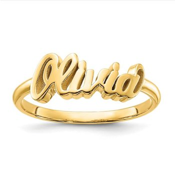 14k Gold Casted High Polish Personalized Name Band Ring
