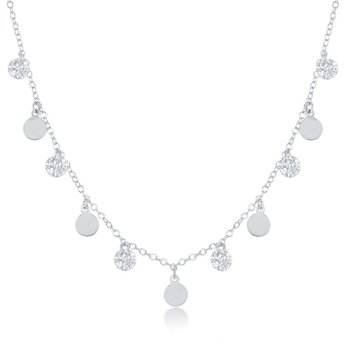 Sterling Silver Dangling CZ's and Discs Chain Necklace and Bracelet Set