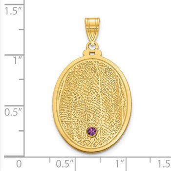 14k Gold Personalized 28x19.7mm Oval Fingerprint Birthstone Pendant