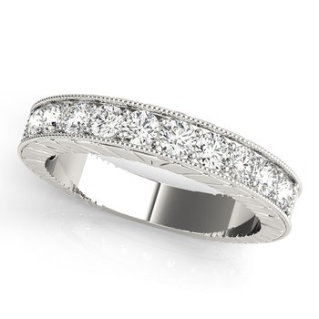 - Diamond Round Milgrain Anniversary Wedding Band