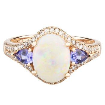 - 14k Rose Gold 0.23Ctw. Diamond and 9x7mm Australian Opal & Tanzanite Gemstones Fancy Cocktail Ring