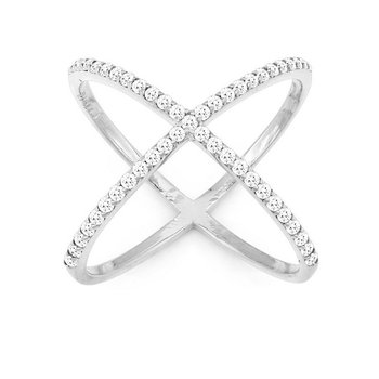- Sterling Silver Set with Round CZ Stones Negative Space X-Style Ring