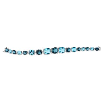 """""""Limited-Edition"""" Collection 14k White Gold Diamond and London & Swiss Blue Topaz Tennis Bracelet"""