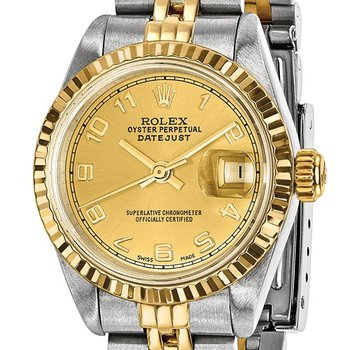 : Pre-Owned Independently Certified Rolex Ladies Datejust Two-Tone Steel/18ky with Champagne Arabic Numerals Dial, and Jubilee Band
