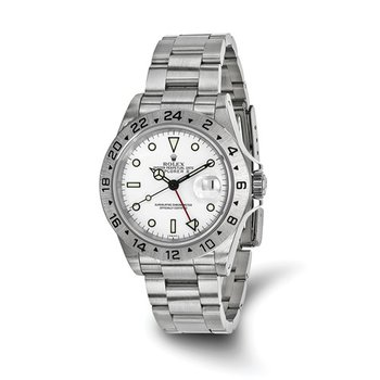 : Pre-Owned Independently Certified Rolex Explorer II Steel with White Dial, Fixed Bezel, and Steel Oyster Band