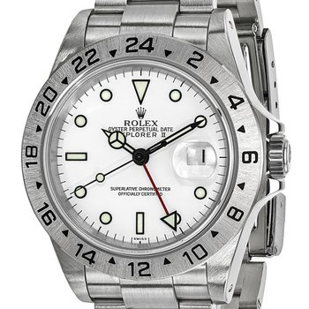 : Pre-Owned Independently Certified Rolex Explorer II Steel with White Dial,Fixed Bezel, and Steel Oyster Band